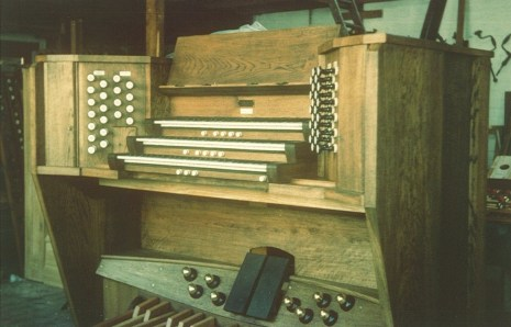 The organ console, at the workshop in 1975