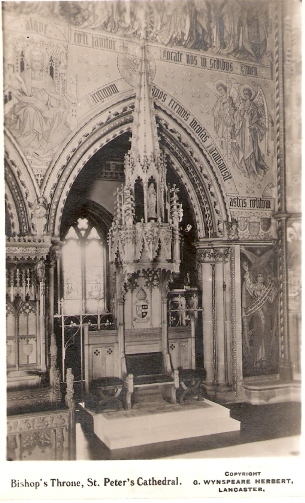 The Cathedra (bishop's throne) after its installation in the Cathedral in 1924