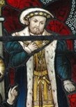 King Henry VIII, depicted in a stained glass window in the north transept