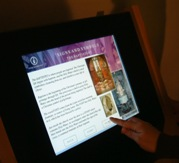 A touchscreen computer gives details of the Cathedral and the Catholic faith